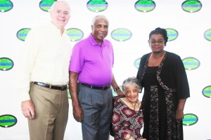 Pictured at the event are (from  left) Milwaukee Mayor Tom Barrett; 2014 Legends Award Recipient and Major League Baseball Hall of Famer Frank Robinson; Community Leader Award Recipient, History Maker and Attorney Vel Phillips; and Congresswoman Gwen Moore